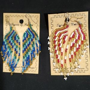 Handcrafted beaded earings. Two pairs come with it
